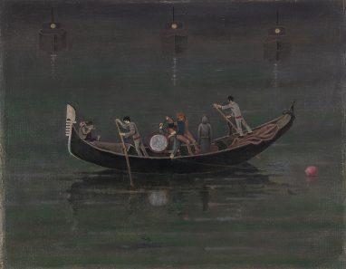 Günther Blau, Gondel mit Booten, 1990, Öl auf Leinwand auf Hartfaser, 46,5 x 59,5 cm