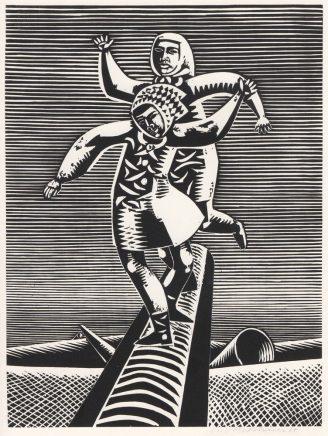 Wolfgang Mattheuer, Balance, 1967, Holzschnitt, 47,9 x 36,1 cm