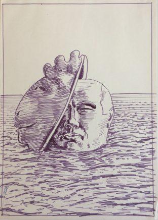 Das tragische Ende eines Unerkannten, 1971, Filzstift, 29 x 20,5 cm