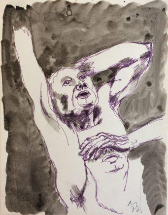 Erschrecken, 1976, Tusche, Filzstift, 22,4 x 17,5 cm