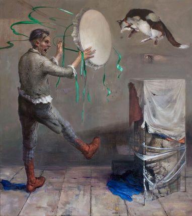 Frank Hauptvogel, Erwarten und Sein, 2013/2014, Öl auf Leinwand, 190 x 620 cm (3 Tafeln)