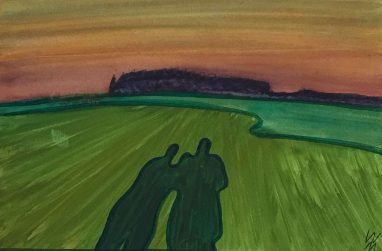 Überraschende Begegnung, 1974, Aquarell, 12,1 x 18,4 cm