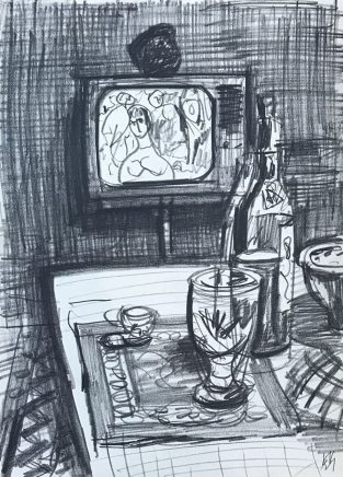 Fernsehstilleben, 1974, Bleistift, 21 x 15 cm
