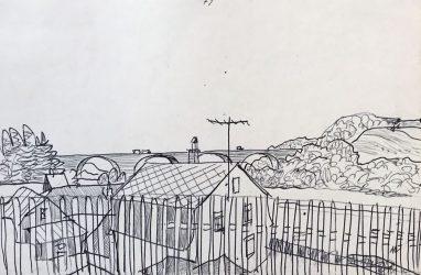 Haus des alten Genossen, 1971, Kugelschreiber, 12 x 18 cm