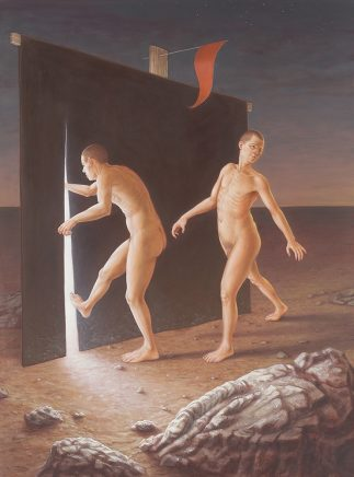 Leif Borges, Red Flag, 2018, Acryl und Öl auf Leinwand, 80 x 60 cm