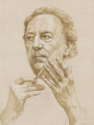 Michael Triegel, Studie Riccardo Chailly, 2017, Bleistift, Tusche, Weißhöhung auf grundiertem Papier, 65,5 x 50 cm