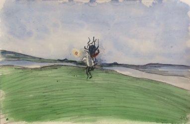 Sturz des Ikarus, 1976, Bleistift aquarelliert, 17 x 25,9 cm