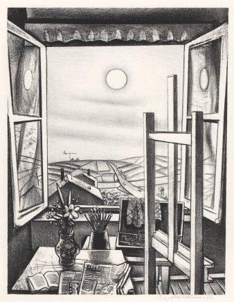 Wolfgang Mattheuer, Offenes Fenster, 1966, Lithografie, 50,2 x 38,2 cm