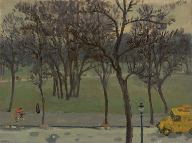 Wolfgang Mattheuer, Blick in den Park, 1954, Öl auf Malpappe, 28,3 x 37,3 cm