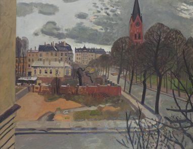 Wolfgang Mattheuer, Lutherkirche (Blick aus dem Fenster), 1959, Öl auf Hartfaser, 75,5 x 95,5 cm