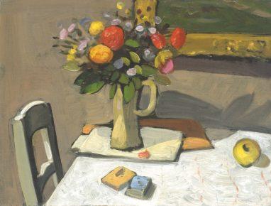 Wolfgang Mattheuer, Blumenstilleben, 1963, Öl auf Hartfaser, 30 x 42,5 cm