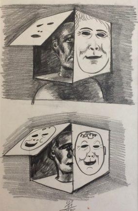Das Zweite Gesicht, 1972, Bleistift, 29,2 x 19 cm