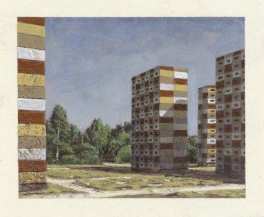 Bunte Plattenbauten, 2017, 9 x 12 cm