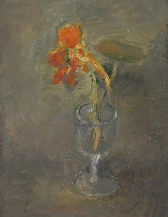 Kapuzinerblüte, 1975, Öl auf Pappe, 20,5 x 15 cm