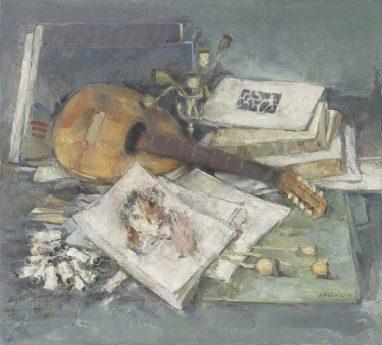 Atelierstilleben mit Mandoline, 1994, Öl auf Leinwand, 90 x 100 cm