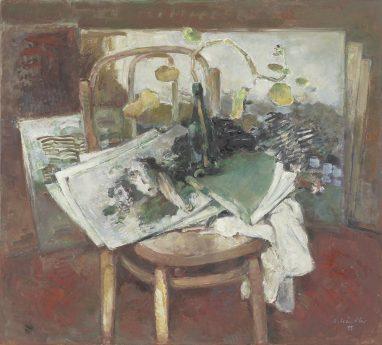 Atelierstilleben mit Geranienranke, 1995, Öl auf Leinwand, 90 x 100 cm