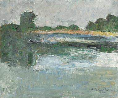 Havellandschaft (mit Bötchen), 2002, Öl auf Leinwand, 25 x 30 cm
