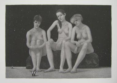 51°20°N 12°21°E, 1986, Schablithografie, 41,5 x 59,5 cm