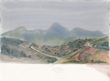 Abend auf Attika, 1982, Aquarell, 19,5 x 33,5 cm