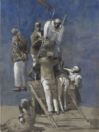 Hinrichtung, 1965, Aquarell, 31,5 x 23,5 cm