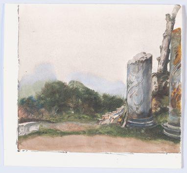Capri - Säulen bei Villa Jovis, 1980, Aquarell, 15 x 16,5 cm