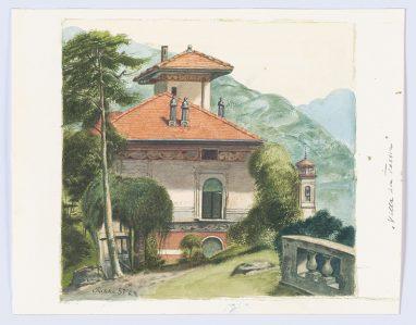 Villa in Tessin, 1981, Aquarell, 14,5 x 15,2 cm