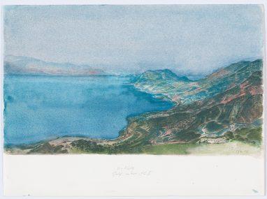 Golf von Korinth II., 1982, Aquarell, 19,5 x 33,5 cm