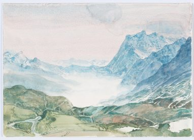 Morgen bei Grindelwald, 1983, Aquarell, 23,5 x 34 cm