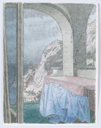 Capri-Blick von unserem Haus auf die Küste , 1996, Aquarell, 19 x 14,5 cm