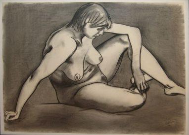 Akt sitzend, Mischtechnik auf Papier, 1975, 85 x 70 cm