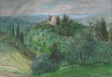 Michael Triegel, Bei San Gimigniano, 2008, Aquarell, 21 x 30 cm