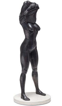 Joscha Bender, Undress I, 2016, Bronze, 89 x 33 cm