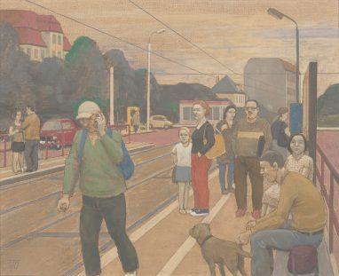 Haltestelle II, 2010, Tempera auf Hartfaser, 24 x 29 cm