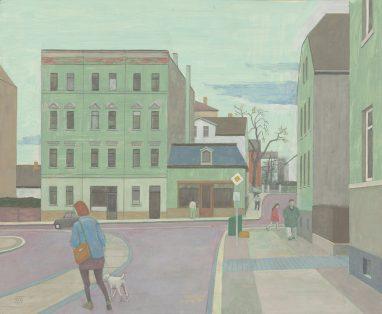 Gohliser Straßenszene, 2015, Tempera auf Hartfaser, 41 x 50 cm