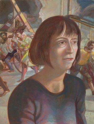 Frau B., 2005, Mischtechnik auf Hartfaser, 50 x 37,5 cm