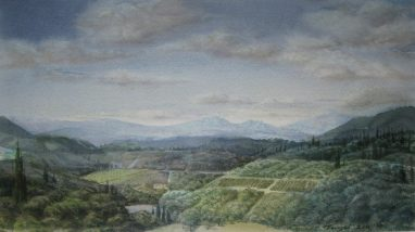 Michael Triegel, Im Chianti, 2011, Aquarell, 18 x 29,5 cm