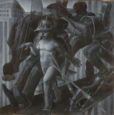 Studie zu Der siegreiche Knabe, 2004/2013, Acryl auf Karton, 90 x 90 cm