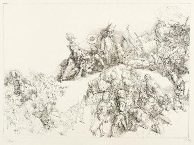 Pilatus und Narr, 1981, Kreidelithografie, 26,5 x 36,6 cm