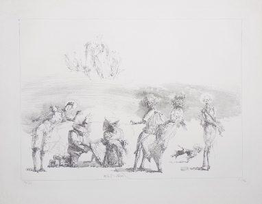 Harlekin begräbt einen Freund, 1983, Kreidelithografie, 28 x 39 cm