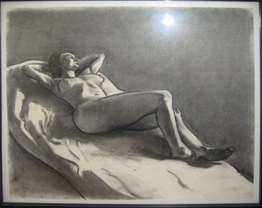 Liegender Akt, Mischtechnik auf Papier, 1976, 70 x 85 cm