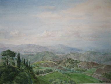 Michael Triegel, Morgen bei Siena, 2008, Aquarell, 23 x 31 cm