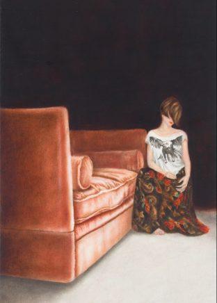 o.T. (30) (Neben rotem Sofa), 2015, Öl auf Holz, 17 x 11 cm