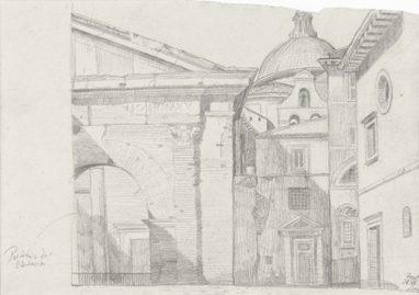 Portikus der Octavia (Rom), 1991, Grafit, 19 x 27 cm