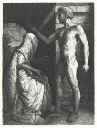 Michael Triegel, Die Perser II (Bote), 2008, Strichätzung, Reservage, Aquatinta, 19 x 14 cm