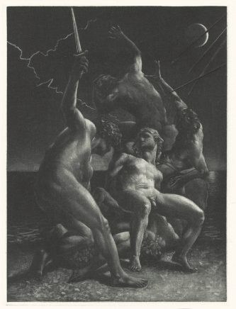 Michael Triegel, Die Perser IV (Schlacht), 2008, Mezzotinto, 19 x 14 cm
