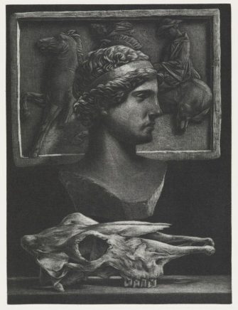 Michael Triegel, Die Perser V (Triumph), 2008, Mezzotinto, 19,3 x 14,5 cm