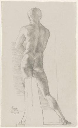 Michael Triegel, Schaber des Lysippos (Vatikan), 17.VIII. 1991, Grafit auf Bütten, 27,5 x 16,5 cm