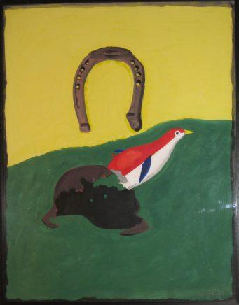 Stilleben mit Spielzeugvogel, Acryl auf Karton, 83 x 69 cm