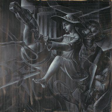 Studie zu Der silberne Faden, 2008, Acryl und Weißkreide auf Karton, 90 x 90 cm