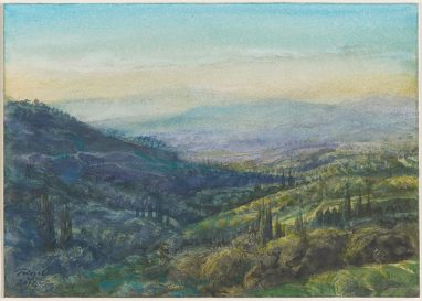 Michael Triegel, Toskana Abend, 2012, Aquarell, 17 x 24 cm